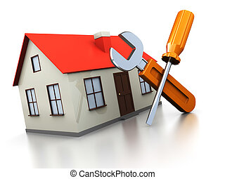 house repair - 3d illustration of house with screwdriver and...