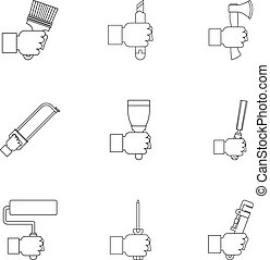 House repair tool icon set, outline style