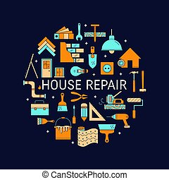 House repair vector line icons