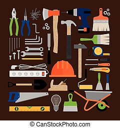 House repair working tools icons