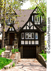 House - Residential tudor style house with green trees