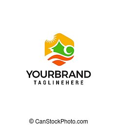 house river logo design concept template vector