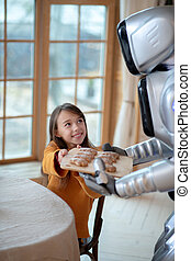 House robot in apron going to serve the table for dinner