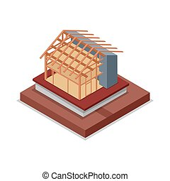 House roof and walls framework isometric 3D icon