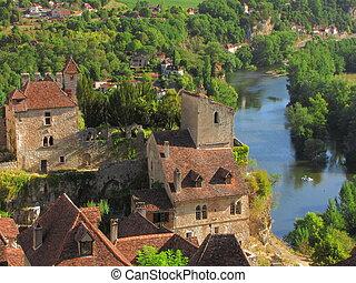 House, roof, Castle, Lapopie