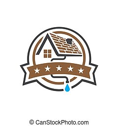 house roof gutter logo design vector badge emblem template illustrations