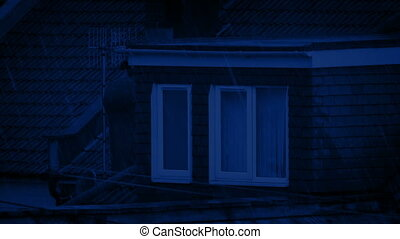 House Roof In The Rain At Night - House roofs in rainfall at...