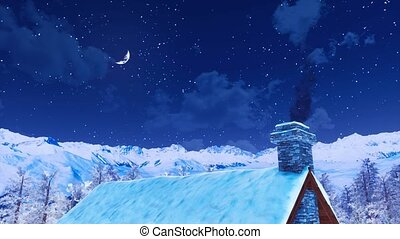 House roof with smoking chimney at winter night - Snow...