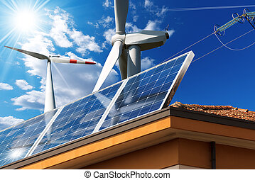 House Roof with Solar Panels and Wind Turbines