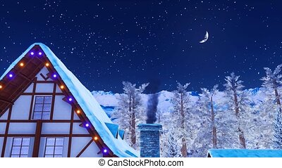 House rooftop with smoking chimney at winter night - Close...