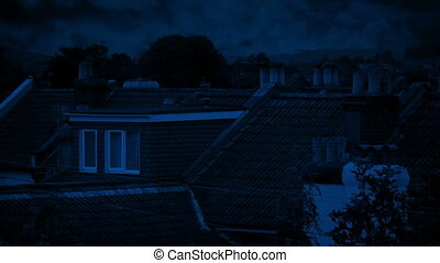 House Rooftops With Trees Moving In Breeze - Roofs of houses...