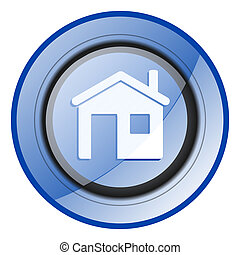 House round blue glossy web design icon isolated on white background