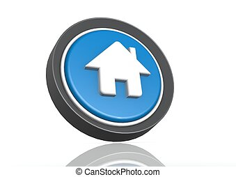 House round icon in blue