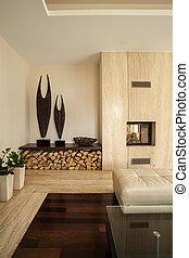 house:, sala de estar, travertine, detalhes