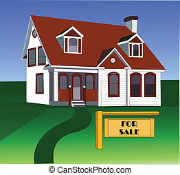 house sale - real estate sold sign and house,sale