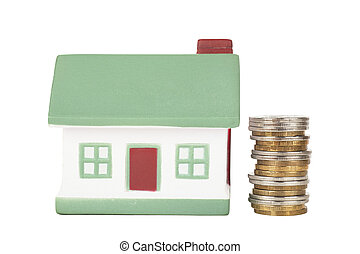 House sale - Little house toy and stack of coins isolated...
