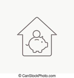 House savings line icon. - House savings line icon for web,...