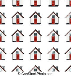 House seamless pattern in cartoon style isolated on white background vector illustration