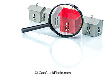 house search concept, house model with magnifying