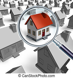 House search and house hunting for real estate in a good neighborhood for sale that need to be inspected by a home inspector for quality control as a concept with a magnifying glass inspecting a model single home building structure.