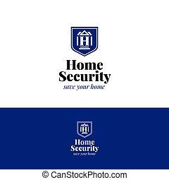 House security logo. Home insurance vector symbol