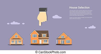 house selection concept - picture of a human hand glass and...