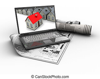 house selection - abstract 3d illustration of house...