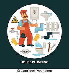 House service vector flat poster for kitchen or bathroom sewerage and leakage plumber repair equipment