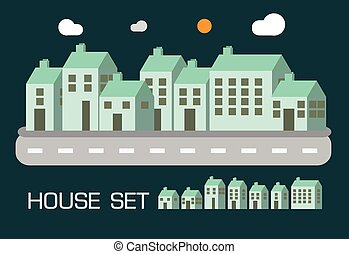 House set green tone concept design