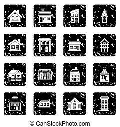 House set icons, grunge style