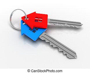 house-shape, κλειδί , concept., 3d , αμολλάω κάβο , εικόνα