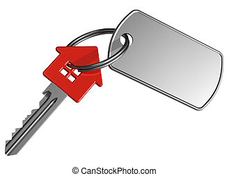 house-shape, 紅色, 鑰匙, 標簽