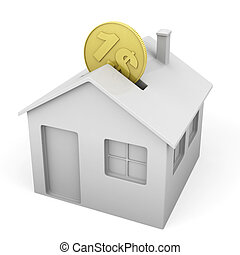 house shaped money box with a coin as concept for mortgage ...