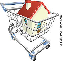 House shopping cart concept - An illustration of a shopping...