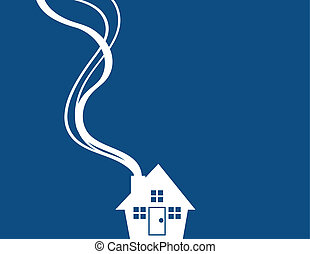 House Silhouette Minimal Blue - Minimal blue house with...
