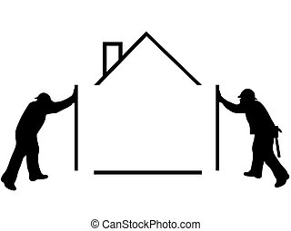 silhouette of man building a house
