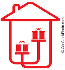 house silhouette with gifts - home holiday symbol