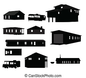 House Silhouettes - A vector illustration of some house...