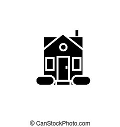 house simple - door center icon, vector illustration, black sign on isolated background