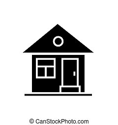 house simple with door icon, vector illustration, black sign on isolated background