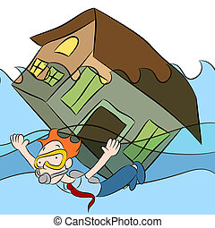 House Sinking - An image of a person swimming with a house...
