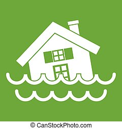 House sinking in a water icon green