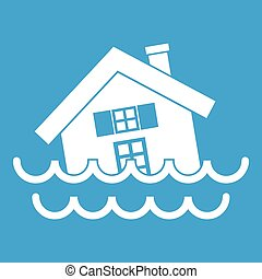 House sinking in a water icon white