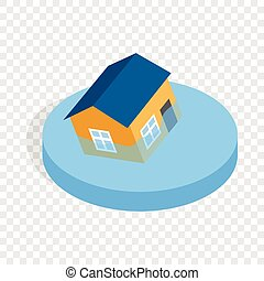 House sinking in a water isometric icon