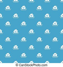 House sinking in a water pattern seamless blue