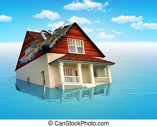 House sinking in water ,real estate housing crisis, flooding...