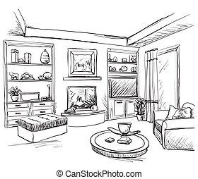 House sketch. Hand drawn illustration. Cartoon building