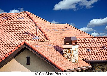 House Slates Roof. Roofing Works. Modern House Roof Closeup.