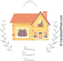 House. Small country house with red roof, branches and the inscription. Illustration of a country house on a white background. Stock vector