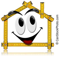 Wooden yellow meter tool forming a house with a smile on white background